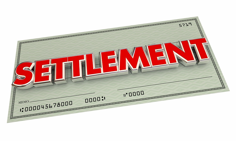 A green cashier's type check positioned diagonally, with SETTLEMENT written on the check in all-caps, bold, red letters, posing the question, Are personal injury settlements taxable in PA and NJ?